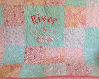 Baby Quilt Girl - Pink Aqua Gold - Coral Light Pink - Aqua - Gold - White - Personalized Baby Quilt - Princess Girl Quilt - Tiara Baby Quilt