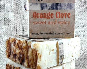 Orange Clove Small Soap -  Kaolin Clay and Essential Oils - Vegan Friendly!