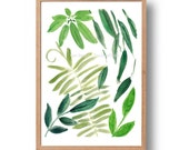 Green leaves print, Botanical art print, leaves watercolor, watercolor print,  green hues, zen, abstract, filiage, garden, home and living