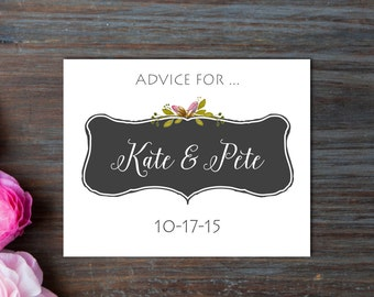 Wedding Advice Cards Personalized 50 Count / Chalkboard Style / Marriage Advice Cards/ Boho
