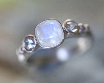 Rainbow Moonstone And White Sapphire Sterling Silver Ring, Gemstone Ring, Three Stones Ring, Engagement Ring, Stacking Ring -Made To Order