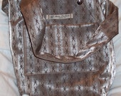 The Jeff Field Bag in tan / taupe striped vintage car upholstery fabric with a taupe twill lining