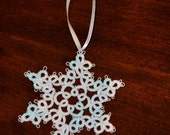 Hand Tatted Snowflake Ornament Holiday Decoration Christmas Gift