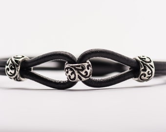 The Twist Black Leather Cord Magnetic Clasp Bracelet