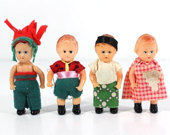 Set of 4 Small Vintage Dolls - Made in Hong Kong