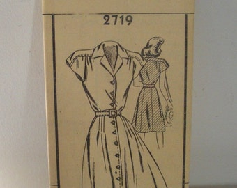 Vintage 1940's Mail Order 2719 Young Girl Sewing Pattern - Sz 12 Years