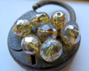NEW . CHAMPAGNE GLOW . Czech Fire Polished Picasso Glass beads (10 beads) 8 mm