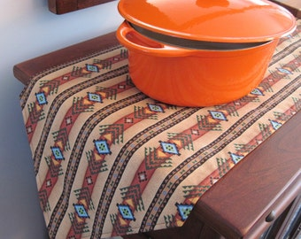"Southwestern Table Runner 72""- 90"" Reversible Brown and Turquoise Long Southwest Table Runner Aztec Table Runner Sedona Table Runner"
