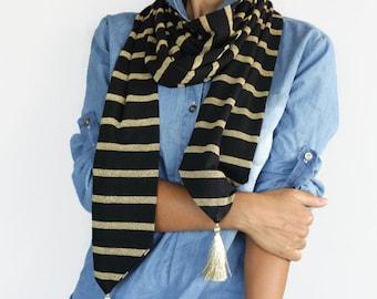 Unisex Gold Striped Black Scarf, Skinny Long Scarf, Men Neckwarmer, Gold Tassels, Handmade