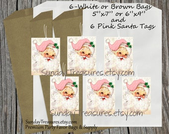 6 Bags 6 Tags / Vintage Pink Santa Hat Shabby Chic Tags / White or Brown Gift Bags with Tags / Candy Cookie Popcorn Favor Bag / 3 Day Ship