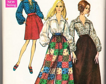 Vintage 1969 Simplicity 8550 Sewing Pattern Misses' Skirt in Two Lengths, Pants and Blouse Size 10 Bust 32-1/2