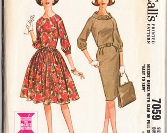 Vintage 1963 McCall's 7059 Sewing Pattern Misses' Dress with Slim or Full Skirt Size 12 Bust 32