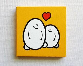 Chep Love - Deep Yellow - Acrylic Painting On Canvas - Original - Tiny Miniature Painting