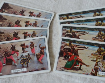 We found the party, it's in Antigua, vintage souvenir playing cards, collage, art, journalling 4 of each