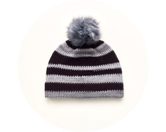Knit pom pom hat, striped ski beanie, winter bobble beanie FREE SHIPPING