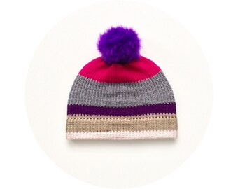 Pompom bobble beanie hat, winter knit pom pom hat FREE SHIPPING