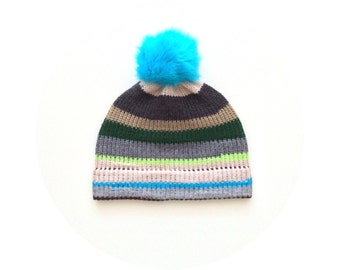 Pom pom hat, stripey ski beanie, winter bobble beanie FREE SHIPPING