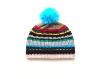 Pom pom hat, stripey beanie, colourful winter bobble beanie FREE SHIPPING