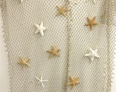 Fish Net with Optional 8 Natural Starfish - Beach Decor/Coastal Decor/Beach Wedding/Beach Parties/Luau Party/Mermaid Party/Nautical