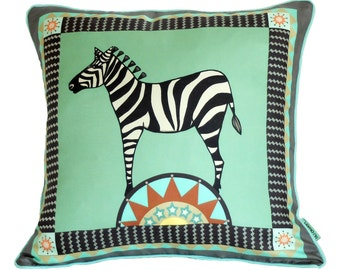 Circus Zebra Cushion / Zebra Pillow / Green Silk Cushion / Circus Cushion / Circus Pillow / Zebra Cushion