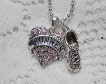 RUNNER Rhinestone Heart Pendant, Running Shoe, Track Star, Sneaker, Jogging, Exercise Shoe, Gym Shoe, Sports, race shoe, Pink Crystals