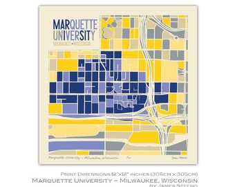 Marquette University – Milwaukee, Wisconsin College Campus Art Map Print by James Steeno