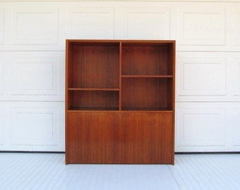 Danish Modern Wall Unit, teak veneer with locking door and drawers