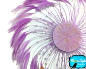 Feather Pads, 1 Piece - LAVENDER whole Beaded Pinwheel Stripped Rooster Hackle Feather Plates : 3946