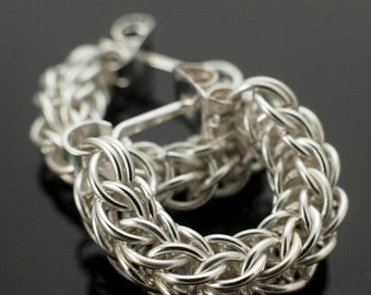 Sterling Silver Chainmaille Earrings - Swag Full Persian Posts Style Kit or Ready Made - 100% Guarantee