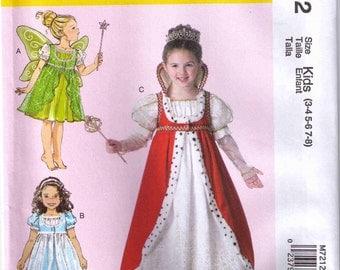 McCalls 7212 Kids Halloween costume princess, queen, fairy pattern size 3-8