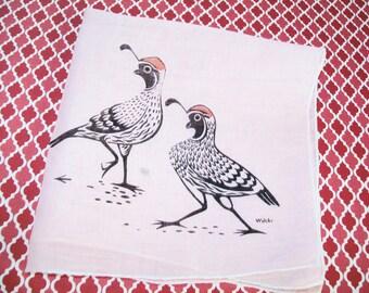 SALE - Vintage Wilcke hankie, handkerchief, quail, pink, 1950s