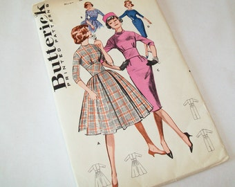 SALE - UNCUT Butterick Dress Pattern, 1960s or late 1950s, supplies