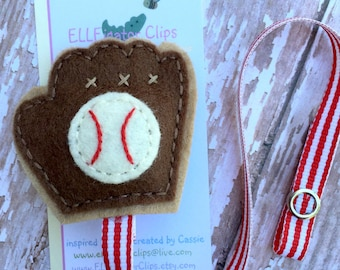 NEW - Felt Baseball Glove and Ball Pacifier Clip - Lets Play Ball - Boys Pacifier Clips / Customize your ribbon