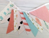 Bunting Fabric Banner, Fabric Flags, Photography Prop, Aztec, Arrows, Feathers, Nursery Decor - Mint Green, Gold, Aqua Blue, Blush Pink