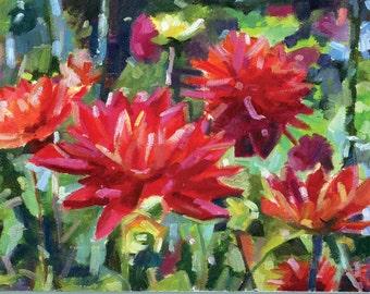 Dahlia Reds - Maine Landscape - Original 8 x 10 Oil Painting
