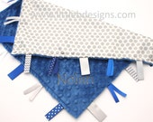 Tag Blanket Personalized Ribbon Lovey - Gray Dot Satin and Cobalt Blue Minky