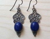 Reserved sale...Balinese Scrolled Sterling Silver 925 Lapis Lazuli Drop Earrings