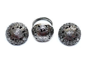 Sterling Asian Motif Ring & Earring Set