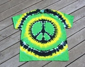 Rasta Peace Sign Tie Dye Tee - Adult (Extra Large) Irie Yellow, Green & Black
