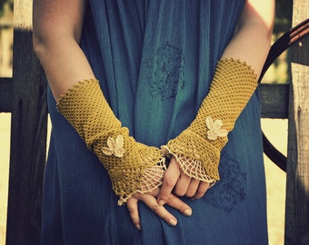 Country Dream - crocheted open work lacy romantic summer autumn fashion wrist warmers cuffs in mustard and beige