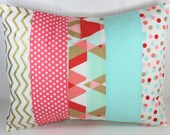 Nursery Cushion Cover, Patchwork Pillow Cover, Nursery Decor, 12 x 16 Inches, Coral Pink, Blush, Mint Green, Gold, Tribal, Aztec, Triangles