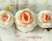 Creamsicle Orange Roses  - Furnitre Applique - Shabby Chic Romantic Vintage Cottage Style
