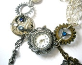 Watch Bracelet Steampunk Watch jewelry Fantasy Victorian cogs hands gears charms Swarovski crystal Light sapphire Meridian Blue
