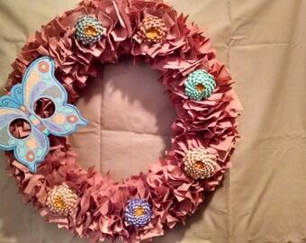 Butterfly and Zenia Rag Wreath
