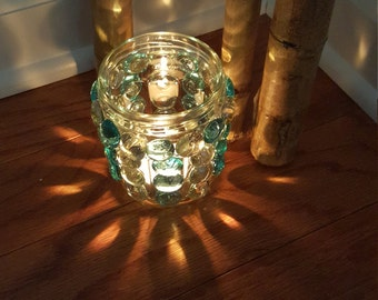 Glass Pebble Candle Holder (small)