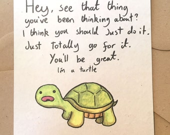 Turtle Advice Greetings Card A5