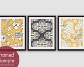 Flower and Geometric Patterns (Series B) Set of 3 - Art Prints (Featured in Sun kissed and River Rock) Nature Woodland Inspired
