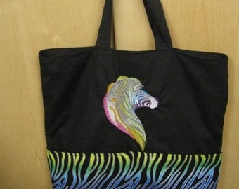 Rainbow Sparkle Zebra version 2 Zoo Tote Bag Shopping Bag Diaper Bag