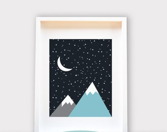 Starry Night Mountains / Wall Art 8x10 Print, Kids Room Decor / Nursery Art Print / Kids Interior Design