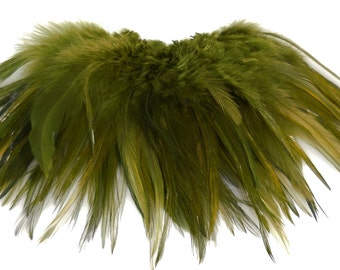 Full Strung Chinese Saddle HackleOlive Green Feather Hair Extension Bundle